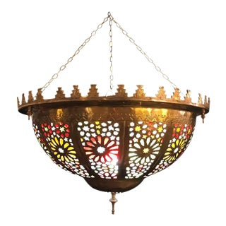Tiffany Fashioned Hand-Hammered Brass and Colored Glass Light Fixture