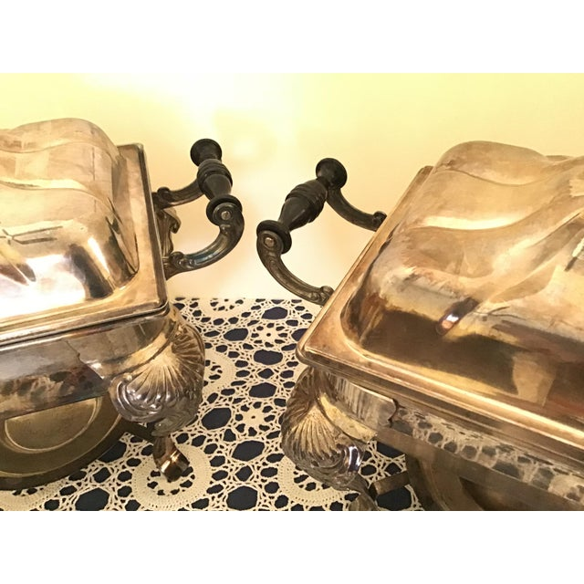 Vintage Silverplate Covered Buffet Server Chafing Dish a Pair For Sale - Image 10 of 12