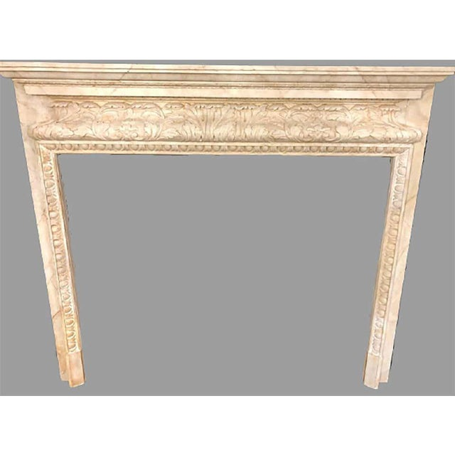 American Swedish Painted and Distressed Decorated Fire Surround in Faux Marble Finish For Sale - Image 3 of 13