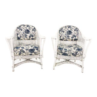 Antique Blue and White Chintz Wicker Chairs - a Pair