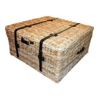 (Free Local Delivery Within 30 Miles) Boho Chic Woven Rattan Coffee Table Trunk For Sale