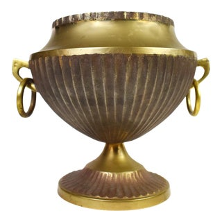 Vintage Solid Brass Pedestal Cachepot Planter Fluted Design Vase With Handle For Sale