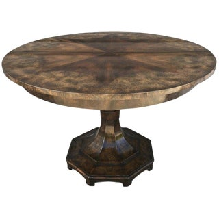 Mastercraft Pedestal 'Extension' Dining Room Table in Amboyna Wood For Sale