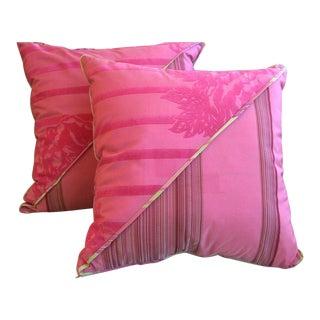 DWM | MALOOS Dia Pink Flocked Pillows - a Pair For Sale
