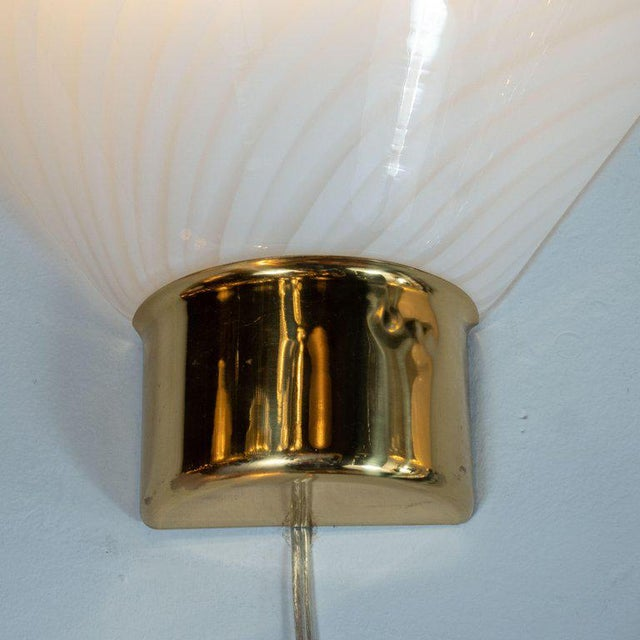 Fabbian Mid-Century Handblown Striated Murano Glass and Brass Sconces by Fabbian - a Pair For Sale - Image 4 of 8