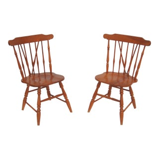 Brace Back Wooden Windsor Chairs - A Pair