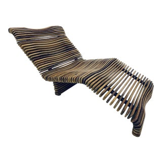 Pacific Green Palmwood Chaise Lounge For Sale