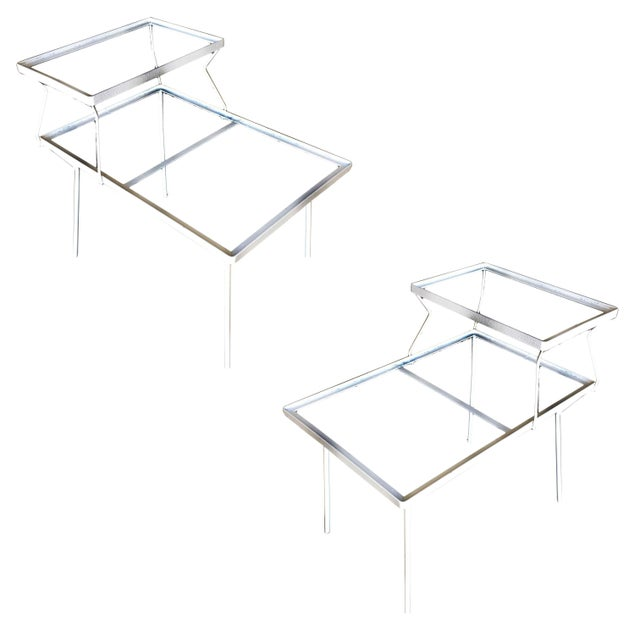 White Two-Tier Art Deco Glass Top Outdoor/Patio Side Tables by Woodard - a Pair For Sale - Image 8 of 8