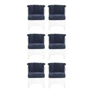 Vladimir Kagan Barrel Lucite Dining Chairs - Set of 6 For Sale