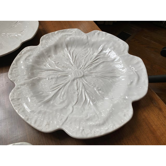 Bordallo Pinheiro 1980s Vintage Bordallo Pinheiro, White Majolica Cabbage Plates - Set of 3 For Sale - Image 4 of 11