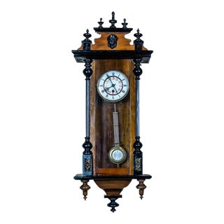 19th-Century Wall Clock With Carvings For Sale