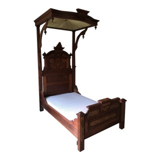 Victorian Mahogany Half Tester Bed For Sale
