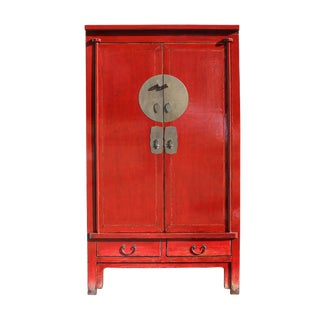 Chinese Distressed Red Tall Wedding Armoire Wardrobe Tv Cabinet For Sale