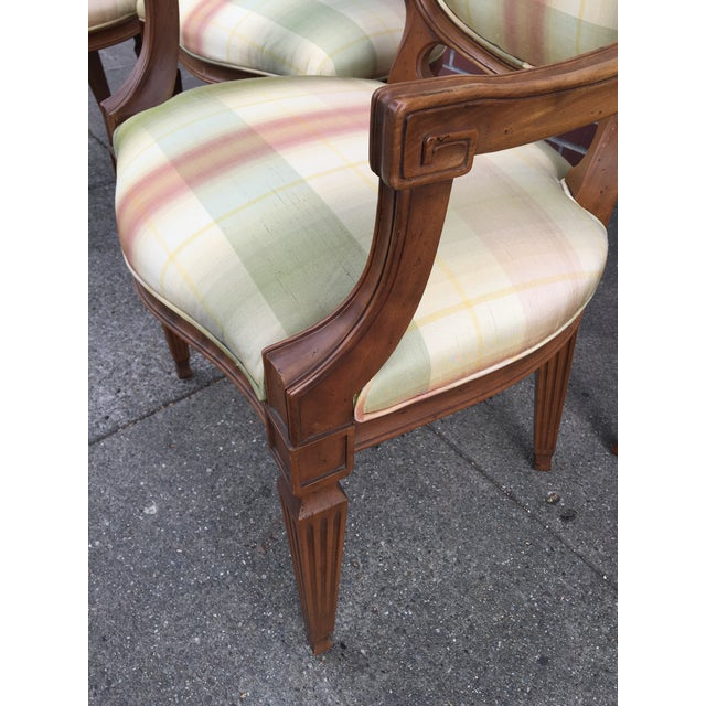 Neoclassical Carved Neoclassic Dining Chairs with Silk Upholstery set of 4 For Sale - Image 3 of 9