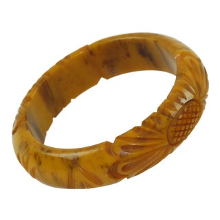 Bakelite Bracelet Bangle Deep Floral Carved Banana Brown Marble Color For Sale