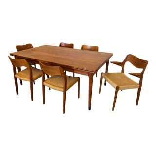 Mid-Century Møller Teak Dining Set, Large Expandable Table, Six Matching Møller Teak Dining Chairs For Sale