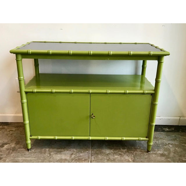 Green Chinoiserie Avocado Green Faux Bamboo Cabinet/Bar Cabinet For Sale - Image 8 of 8