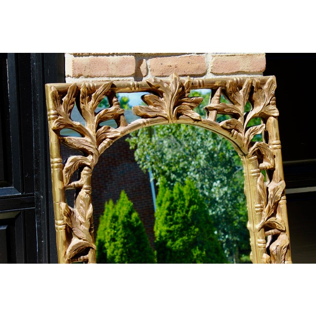 Vintage Serge Roche Style Hollywood Regency Gold Bamboo Palm Frond Leaves Mirror For Sale In Columbus - Image 6 of 7