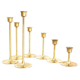 Vintage Brass Candlestick Holders | Set of 7 For Sale