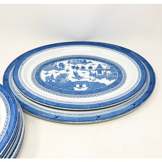 Antique Blue & White Canton Pattern China Collection - Set of 14 For Sale In Atlanta - Image 6 of 13