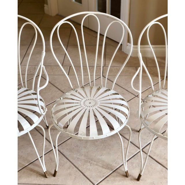Metal 1930s Vintage French Art Deco Francois Carre White and Gold Sunburst Garden Chairs - Set of 3 For Sale - Image 7 of 10