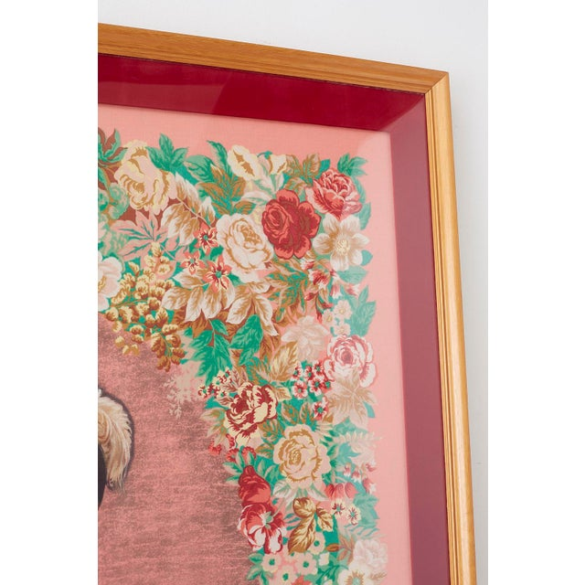 Framed Kenzo Takada Silk Mille-Fleur Painted Scarf For Sale In San Francisco - Image 6 of 13