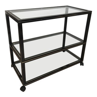1970's Pierre Vandel Mid-Century Modern Black Frame Bar Cart For Sale