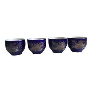 Vintage Japanese Blue and Gold Pheasant Design Sake/Tea Cups - Set of 4 For Sale