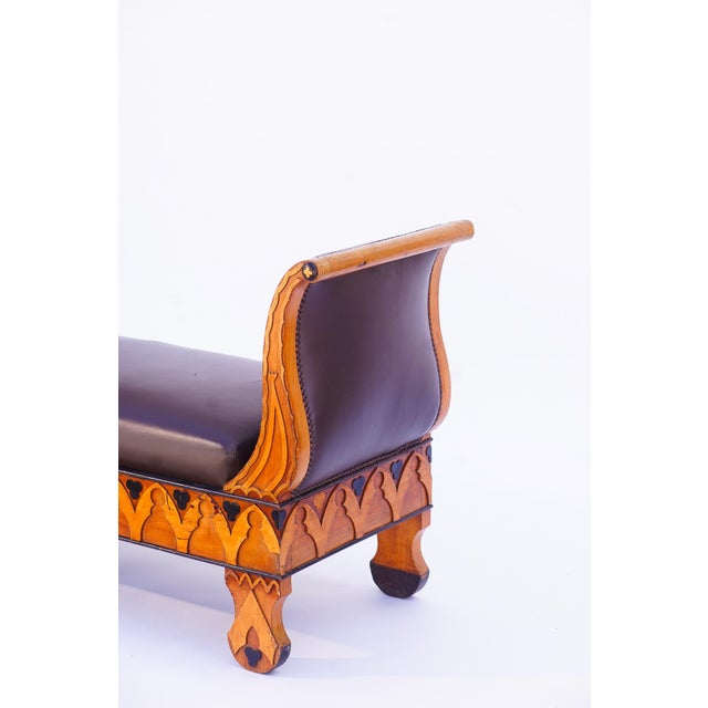 """19th c. Russian Ebony and Fruitwood carved Bench with nailhead detail and leather upholstery 63""""L 22""""d arms measure 34""""H"""