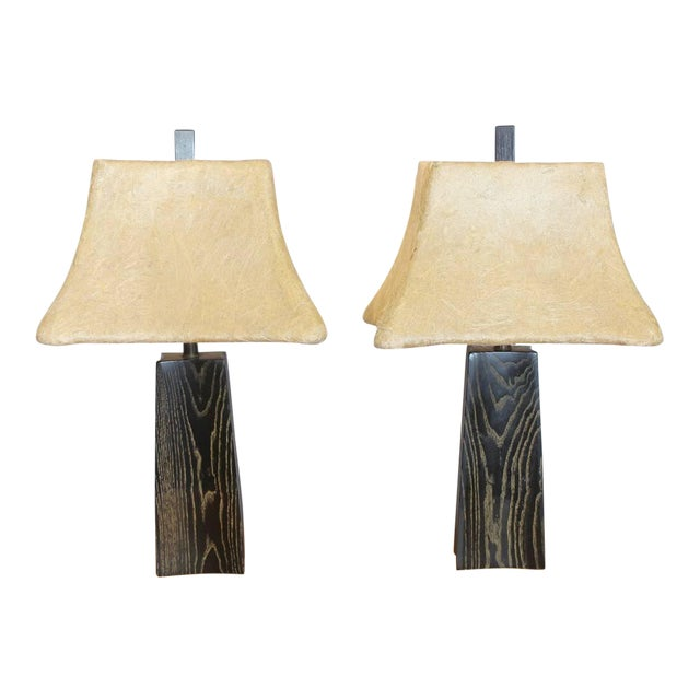 Cerused Oak Table Lamps by James Mont - Image 1 of 2
