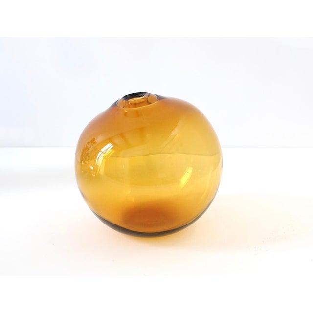 """SkLO Float Glass Vessel 8"""" - Amber For Sale - Image 10 of 10"""