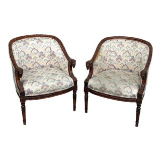 Rams Head Bergere Chairs - a Pair For Sale