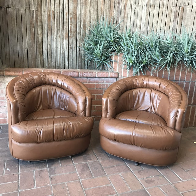 Metal 1970s Brown Leather Swivel Barrel Chairs - a Pair For Sale - Image 7 of 7
