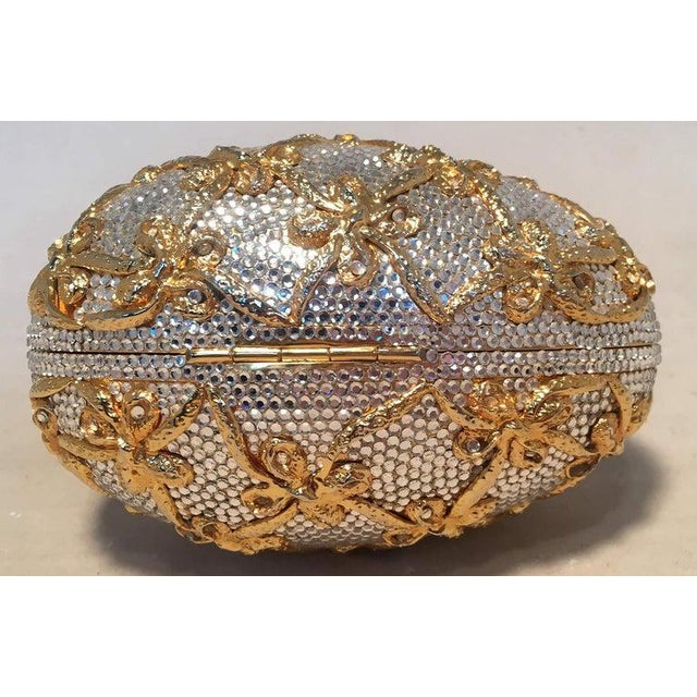 1990s Judith Leiber Swarovski Crystal Clear and Gold Faberge Egg Minaudiere For Sale - Image 5 of 10