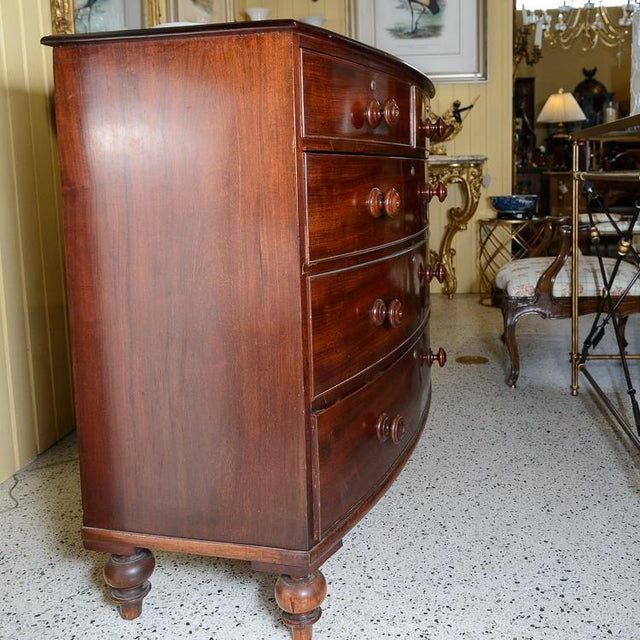 Regency Mahogany Bow Front Chest For Sale - Image 3 of 10