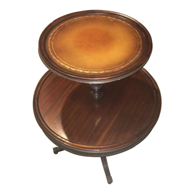 Vintage Leather Top 2 Tier Dumbwaiter Round Side Table - Image 1 of 10