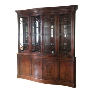 Lexington Palmer Collection Mahogany Breakfront With Curved Glass For Sale