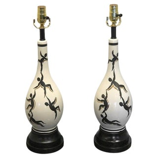 Pair of Italian Mid Century Figural Lamps, in the Manner of Ernestine For Sale