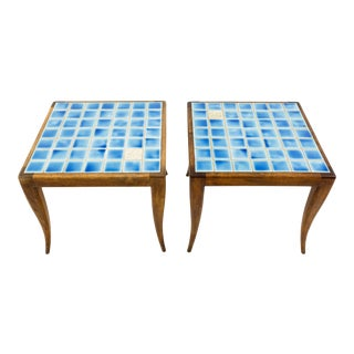 Vintage Mid Century Robbsjohn Gibbings for Widdicomb Style Blue Mosaic Side End Tables- a Pair For Sale