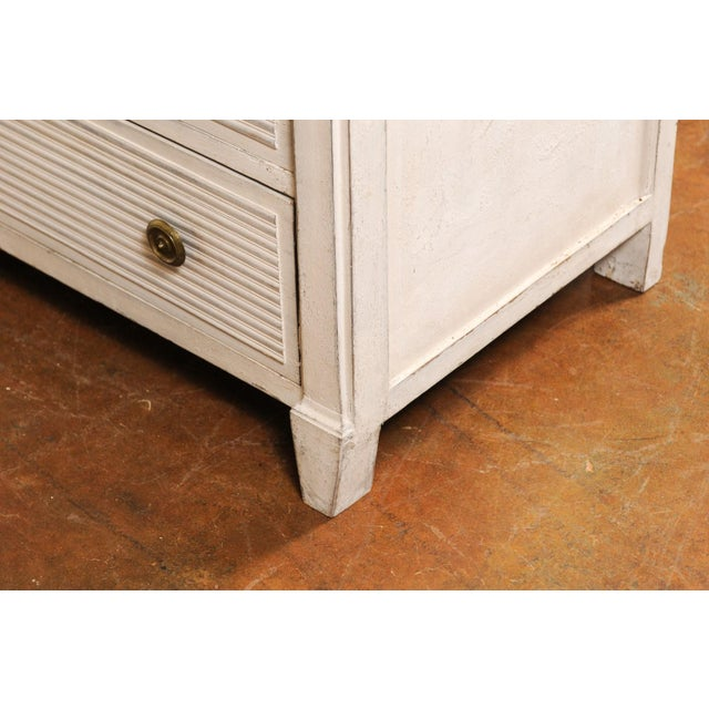 Belgian 1850s Gustavian Style Three-Drawer Painted Commode with Faux-Marble Top For Sale - Image 4 of 13