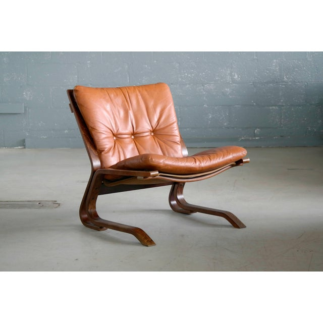 Animal Skin Pair of Midcentury Norwegian Easy Chairs in Cognac Leather by Oddvin Rykken For Sale - Image 7 of 10