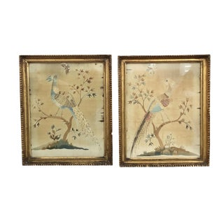 19th Century English Pictorial Silk Embroideries - a Pair For Sale