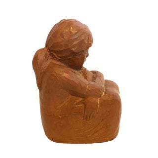 Vintage Red Clay Pensive Girl Sculpture by Sc Lerma, Spain For Sale