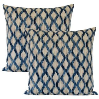 Teal and Cerulean Down Feather Designer Accent Pillows. A Pair