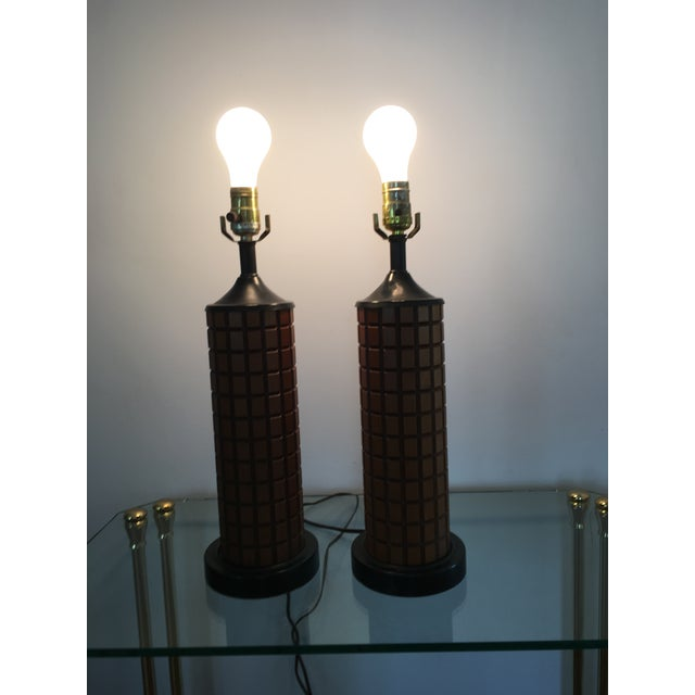 Mid-Century Wood Table Lamps - A Pair - Image 3 of 3