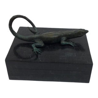 1980s Maitland Smith Tessellated Stone Jewelry Box in Black With Attached Alligator For Sale