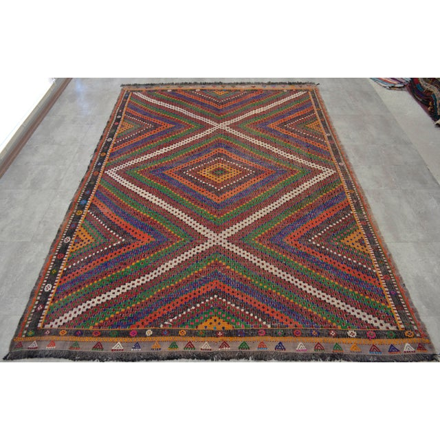"Hand Woven Turkish Kilim Area Rug - 6'9"" X 9'6"" - Image 5 of 9"