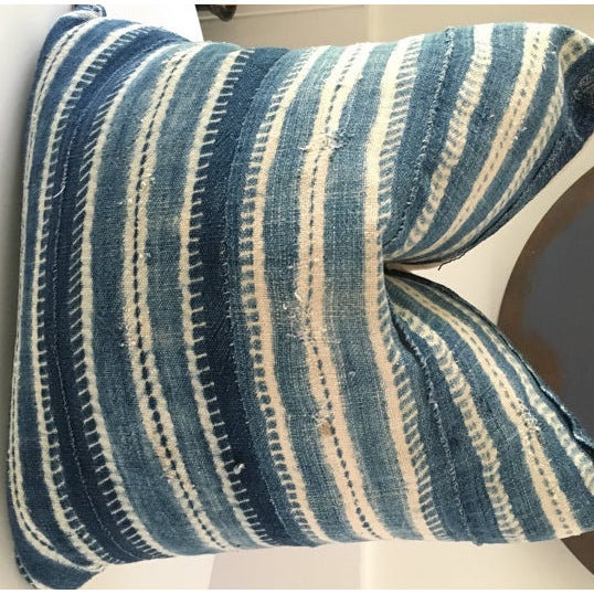 Vintage African Mudcloth Indigo Pillow Cover For Sale - Image 4 of 5