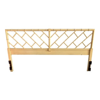 Henry Link Chippendale Yellow Bamboo King Size Headboard For Sale