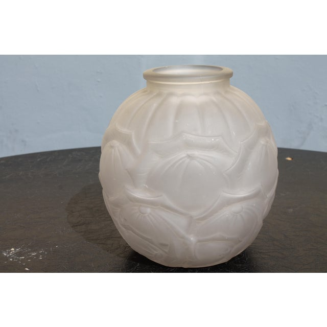 Circa 1920 Authentic Art Deco Artist Crafted Frosted Glass Vase